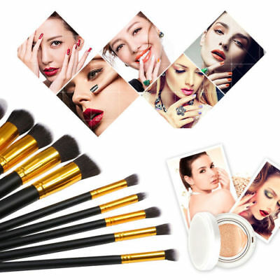 10Pc Makeup Brushes Set Cosmetic Eyeshadow Face Powder Foundation Lip Tool