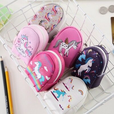 Women Girls Unicorn Coin Purse Wallet Pouch Backpack Bag Leather Key Pouch UK