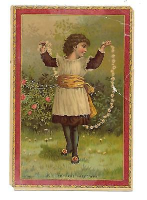Fondest Greetings Girl with Flower Floral Jump Rope Vict Card c1880s
