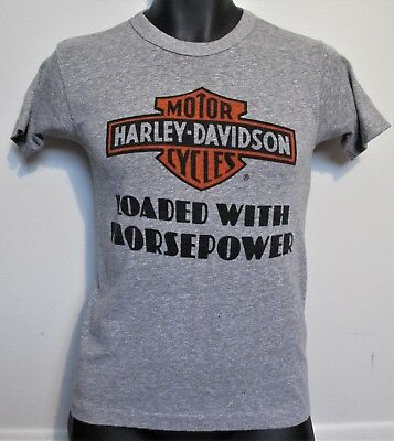 7ec53af3d RARE! Mens VINTAGE 70s CHAMPION Blue Bar HARLEY DAVIDSON Horsepower GRAY T- SHIRT