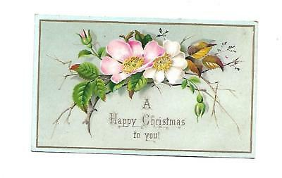 A Happy Christmas to You Pink White Flowers Aqua Vict Card c1880s