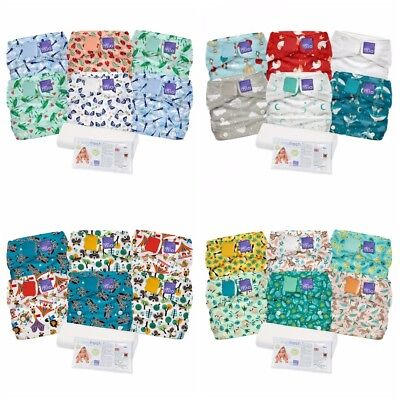 Miosolo Nappy Bambino Mio All In One Washable One Size Set of 6 Mio Liners Fresh