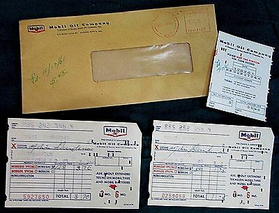 1961 Mobil Flying Red Horse Credit Gas Receipts Envelope Grand Forks ND FREE S/H