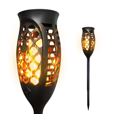 99 LED Waterproof Solar Tiki Torch Light Dancing Flickering Flame Lamp 2 Pack