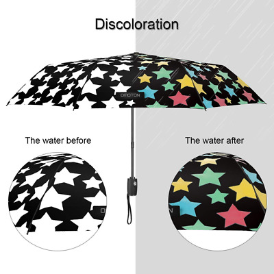 Unbreakable Umbrella Rain Windproof Automatic Open Close Change Color with Water
