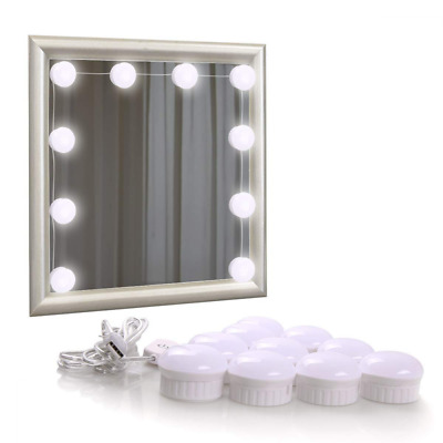 LED Vanity Mirror Lights Kit for Makeup Hollywood Style 10 Dimmable Light Bulbs