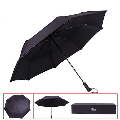 "Travel Umbrella Windproof 53"" Vented Double Canopy Automatic Open Foldable Large"