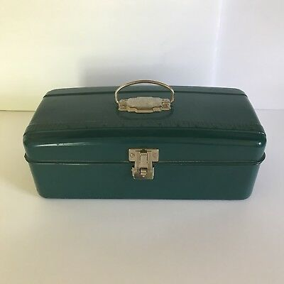 Vintage Union Steel Chest Corp Blue Green Tackle Tool Box W/Ruler Leroy NY USA