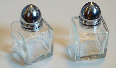 Vintage  Clear Glass Cube Silver Cap Salt and Pepper Shakers Taiwan