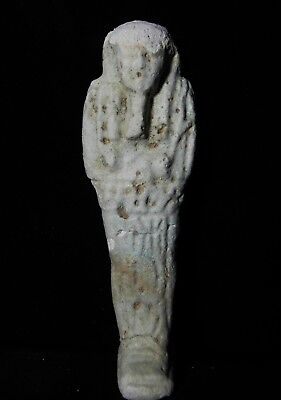 Zurqieh -As7938- Ancient Egypt. Inscribed  Faience Ushabti. 600 - 300 B.c