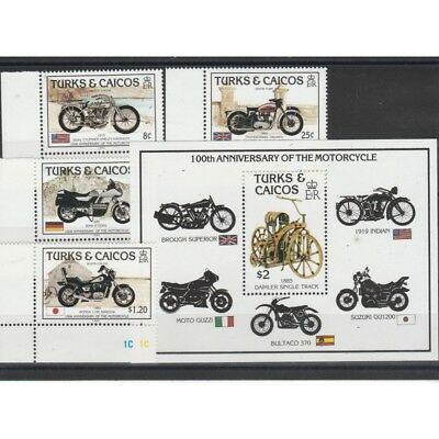 Turks And Caicos Islands 1985 Motorcycle 4 Val + 1 Bf Mnh Mf58286