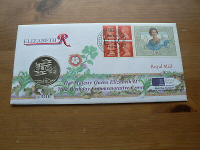 1996 Queen Elizabeth II 70th Birthday, GB £5 Pounds Coin Numismatic Label Cover