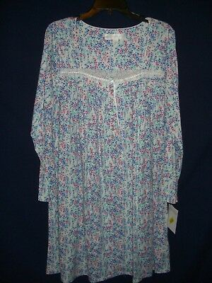 08853379b4 EILEEN WEST Pink Blue Print Heirloom Nightgown Gown w/ Lace Trim - M - NWT