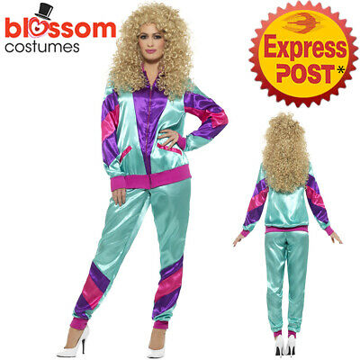 CA819 Ladies Retro Neon 80's Height Fashion Tracksuit Shell Suit Party Costume