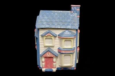 1993 Ceramic House Cookie Jar with White Picture Frames International 21 Inc