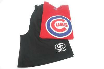 2 Piece Men Outfit Black Sport Tek Elastic Waist Football Shorts Cubs T-Shirt M
