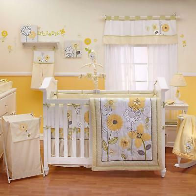 Bright Blossoms Embroidery Flowers 8P Crib Bedding Newborn Baby Girl Set by NoJo