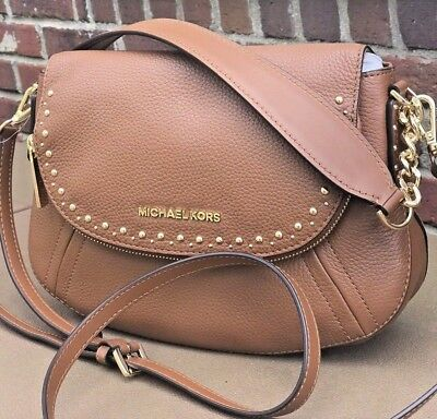86524d5f490e Michael Kors Aria Gold Studded Convertible Brown Leather Shoulder Bag  Crossbody