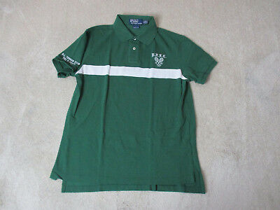 Ralph Lauren Polo Shirt Adult Large Green White Bleecker Tennis Club Rugby Mens
