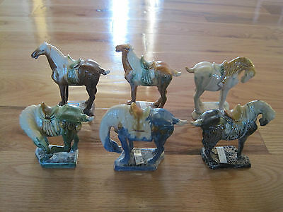 Lot 6 China Terra Cotta Horses Glazed Age Unknown 5-6 inches