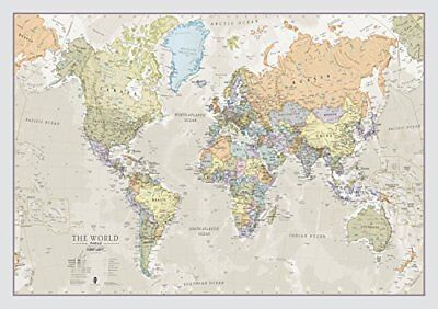 World Map Classic - Front Sheet Lamination - A1 84.1 w X 59.4 h Cm