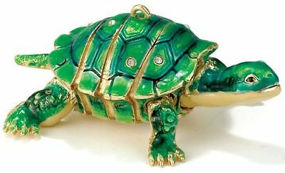 Green Turtle Bejeweled Articulated Cloisonne Hanging Christmas Ornament