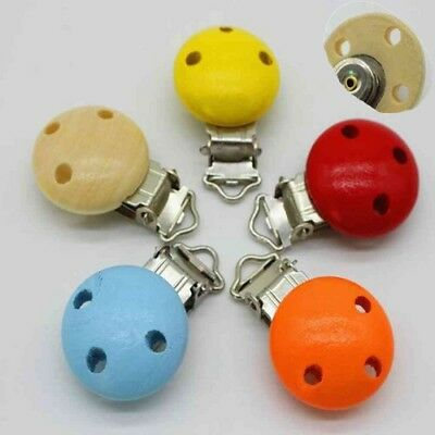 10pcs Cute Natural Wood Baby Pacifier Clip Charm Infant Nipple Clasps 3 Hole