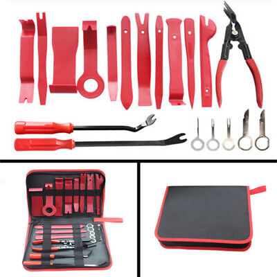 NEW 19Pcs Auto Trim Panel Removal Tool Upholstery Fastener Tools Clip Plier Set