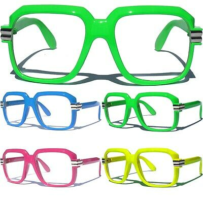 4c336cd4bc1a COLOR FRAME CLEAR LENS OG OLD SCHOOL Retro 80s Hip Hop DJ Rapper Style  Glasses
