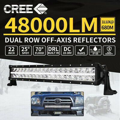 22inch Cree LED Light Bar Dual Row Off-Axis Reflectors Driving Lamp Offroad 4x4