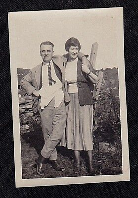 Vintage Antique Photograph Man Smoking Cigar Standing With Woman in Yard