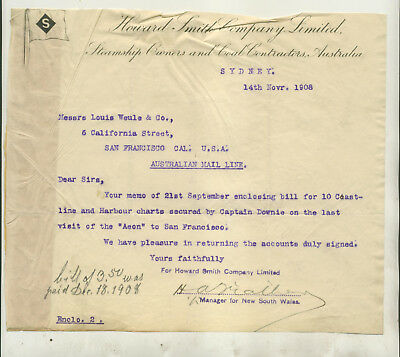 Two 1908 Letters From Howard Smith Co Ltd Steamship Owners Sydney Australia