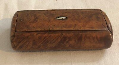 Antique Georgian Treen Burr Wood Snuff Box Mother Of Pearl Inlay 1820