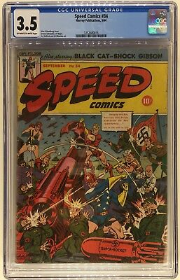 SPEED COMICS #34 CGC 3.5 OW/W Schomburg busy WWII Cover 1944 Black Cat
