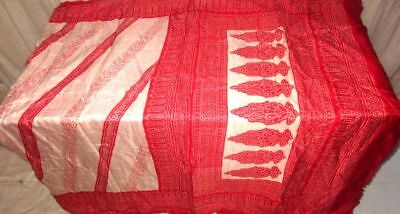 Cream Red Pure Silk 4 yd Vintage Antique Sari Saree Gift for Mother www. #9AI74