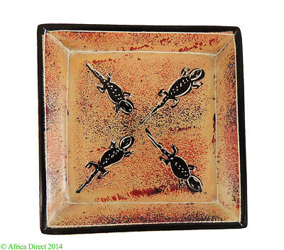 Stone Plate Kisii Lizards 4 Inches Square Kenya African Art