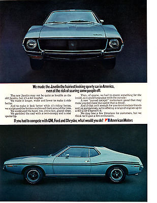 1971 Amc Javelin 401 Cid 4-Barrel V-8 ~ Original Print Ad