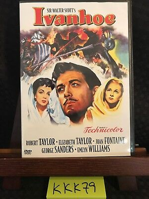 Ivanhoe DVD! Robert Taylor, Elizabeth Taylor, Joan Fontaine (1952) EUC! FREE S/H