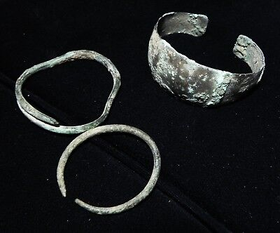 Zurqieh -As7974- Ancient Holy Land, Three Bronze Bracelets , Roman - Crusader