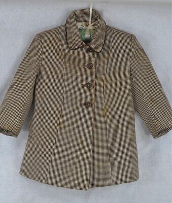 child baby coat vintage wool brown white hounds tooth 1940 WWII original