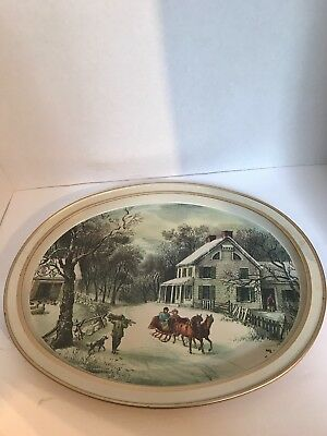 Vintage 1868 Currier Ives Metal Tin Serving Tray The American Homestead Winter