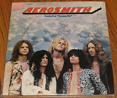Aerosmith - 1st LP Signed By All 5 - Vintage 1975 Autographs with Ticket Stub