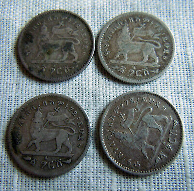 LOT 4 COINS -1895 ETHIOPIA  silver coin lgersh VF