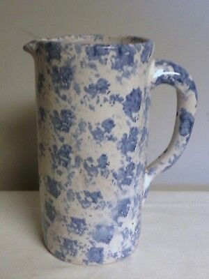 Bybee Pottery Spongeware White and Blue Pitcher 9 Inches Tall country cabin
