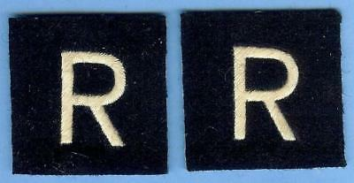 """British Army Repro Sign Patch Pair--""""R"""" Force"""