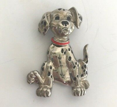 "Vintage Animated 101 Dalmatians Dog PIN/Brooch Silver/Red Collar 2"" Puppy pup"