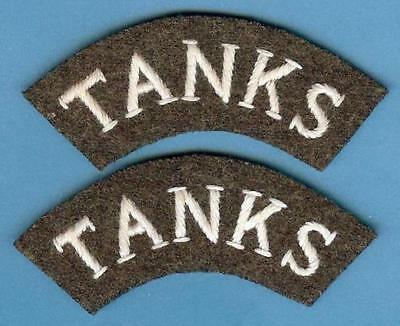 British Army Repro Shoulder Title Patch Pair from WWI--TANKS