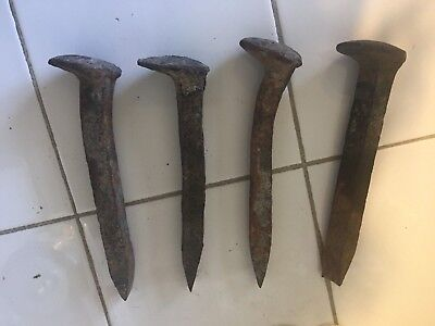 """Vintage Railroad Tie Spikes Iron Primitive Rusty Nails 6"""" Tall Utah Ranch"""