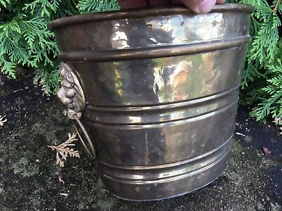 LARGE Vintage BRASS Copper Flower Planter POT Tub With  Lion Heads Handles