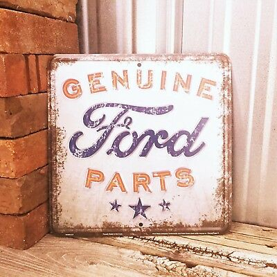 "Ford Genuine Parts Rustic 12"" Embossed White Metal Tin Sign Vintage Garage"